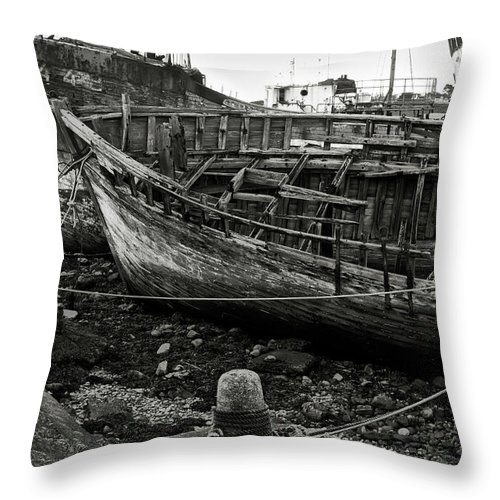 Old Throw Pillow featuring the photograph Old Abandoned Ship by RicardMN Photography