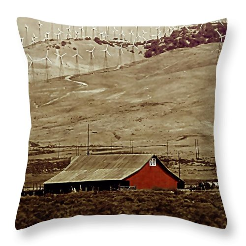 Barn Throw Pillow featuring the photograph Old And New by Ellen Heaverlo