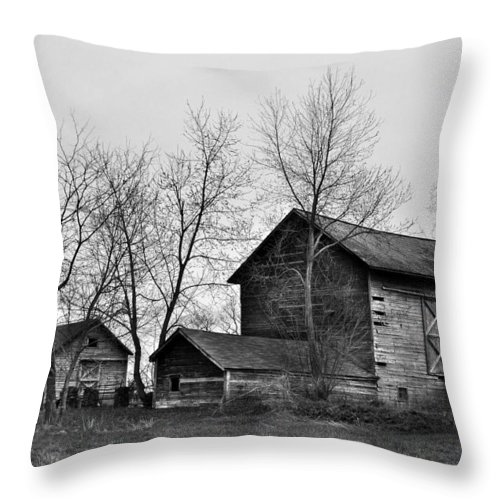 Barn Old Monochrome lack And White Rustic Abandoned Abandon Building Jdfielding Photography Throw Pillow featuring the photograph Old Barn In Monochrome by JD Fielding