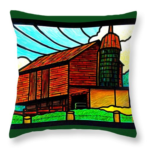 Old Throw Pillow featuring the painting Old Barn On Keezletown Road by Jim Harris