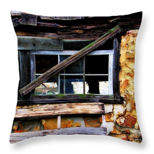 Barn Throw Pillow featuring the photograph Old Barn Window 2 by Perry Webster