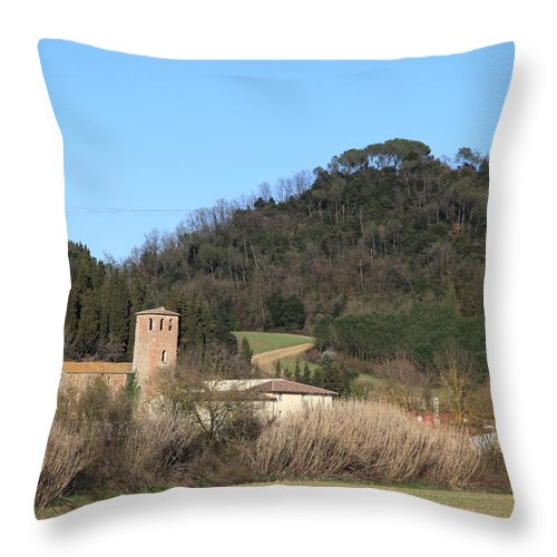 Church Throw Pillow featuring the photograph Old Church Near Montelupo by Francesco Scali
