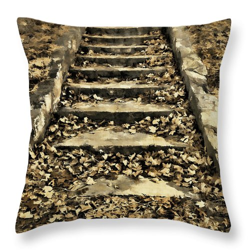 Autumn Throw Pillow featuring the photograph Old Dried Leaves by Lourry Legarde
