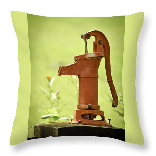 Pump Throw Pillow featuring the photograph Old Fashioned Water Pump by Carolyn Marshall