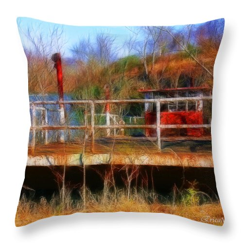 Tn Throw Pillow featuring the photograph Old Ferry On The Cumberland by Ericamaxine Price