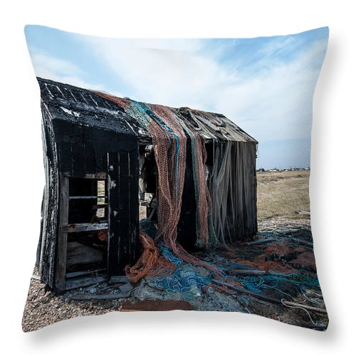 Boat Throw Pillow featuring the photograph Old Fishermans Hut by Dawn OConnor