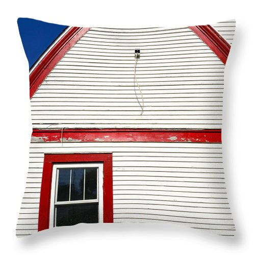 Pawnee City Throw Pillow featuring the photograph Old Gas Station Siding by Marilyn Hunt