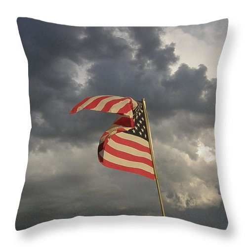 Old Glory Throw Pillow featuring the photograph Old Glory by Feva Fotos