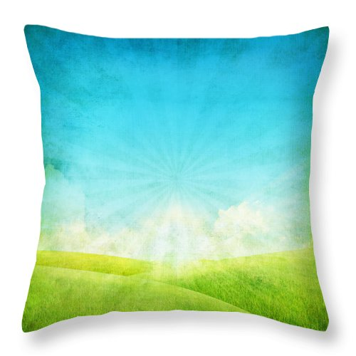Abstract Throw Pillow featuring the painting Old Grunge Paper by Setsiri Silapasuwanchai