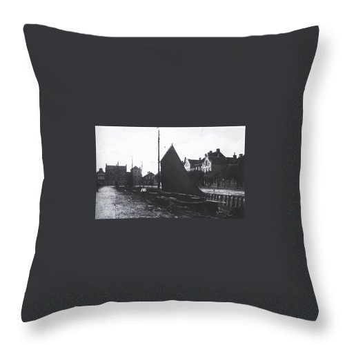 Vintage Old Harbor Germany 1880 Man Ship Boat Wooden Black White Bw Throw Pillow featuring the photograph Old Harbor 1880 by Steve K
