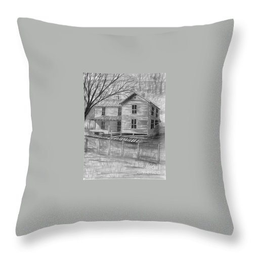 Old House Throw Pillow featuring the drawing Old Homeplace by Julie Brugh Riffey