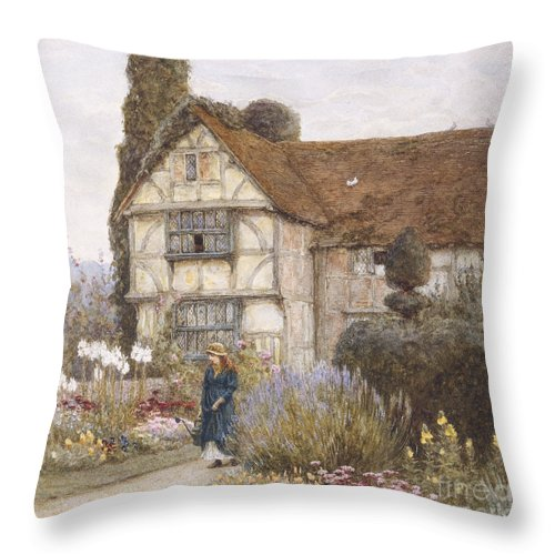 English; Landscape; C19th; C20th; Victorian; Exterior; Garden; Gardens; Border; Female; Flowers; Summer Throw Pillow featuring the painting Old Manor House by Helen Allingham