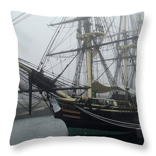 Replica Throw Pillow featuring the photograph Old Massachusetts Sailing Ship by Susan Wyman