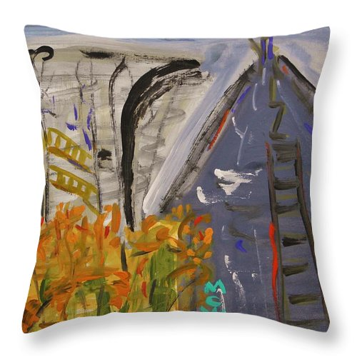 Mill Throw Pillow featuring the painting Old Mill Building-autumn by Mary Carol Williams