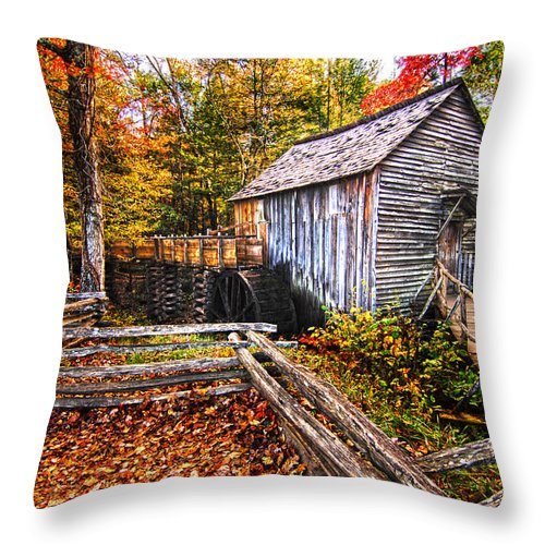 Old Mill Throw Pillow featuring the photograph old mill Smoky Mountains by Randall Branham