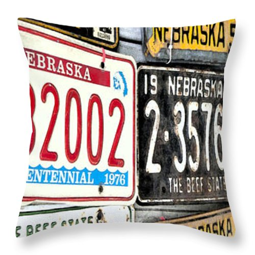 Plates Throw Pillow featuring the photograph Old Nebraska Plates by Pam Holdsworth