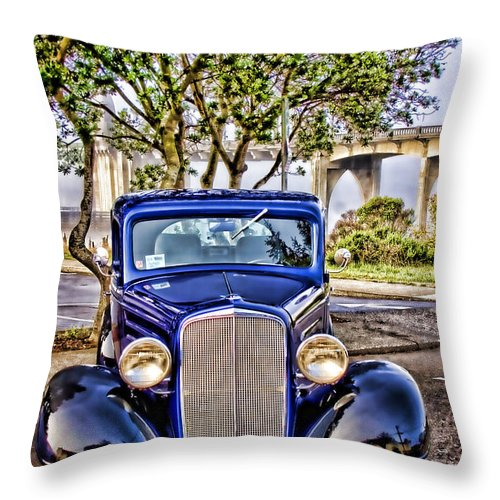 Florence Oregon Throw Pillow featuring the photograph Old Roadster - Blue by Carol Leigh