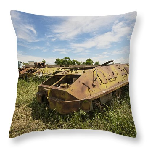 Armor Throw Pillow featuring the photograph Old Russian Btr-60 Armored Personnel by Terry Moore