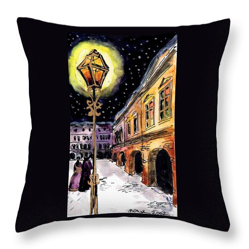 Old Time Evening Throw Pillow featuring the painting Old Time Evening by Mona Edulesco