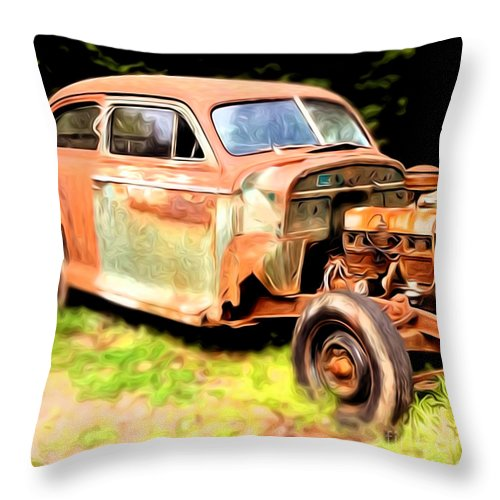 Car Throw Pillow featuring the photograph Old Timer by Laura Brightwood