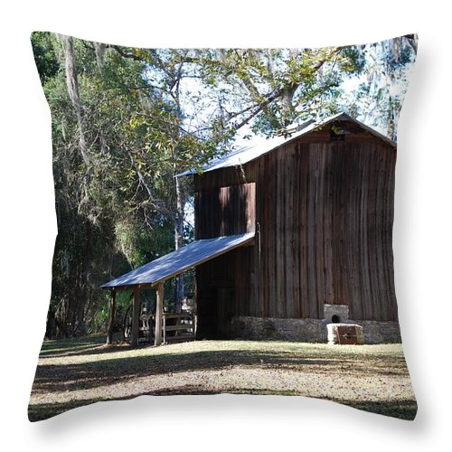 Barn Throw Pillow featuring the photograph Old Tobacco Road by Judy Hall-Folde