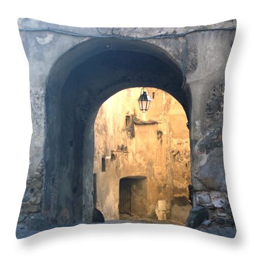 Sighisoara Throw Pillow featuring the photograph Old town gate 1 by Amalia Suruceanu