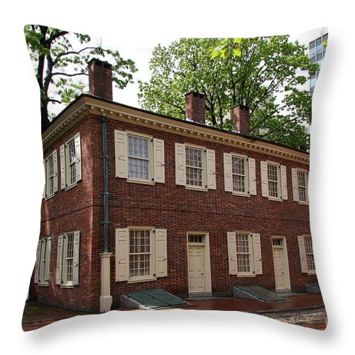 Old Town Throw Pillow featuring the photograph Old Town Philadelphia Brownstone House by Christiane Schulze Art And Photography