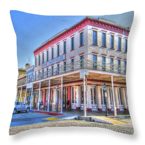 Street Corner Throw Pillow featuring the photograph Old Towne Sacramento by Barry Jones