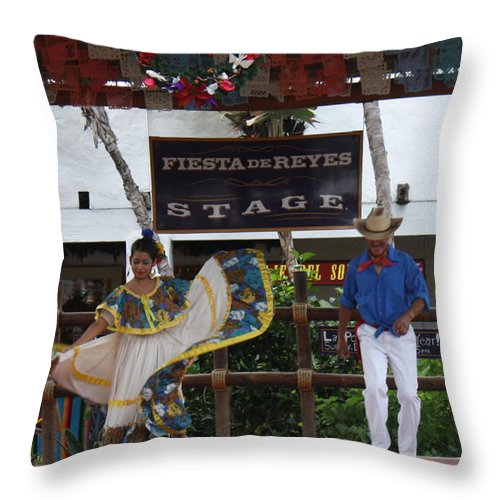Old Town Throw Pillow featuring the photograph Old Towne San Diego Dancing by Tommy Anderson
