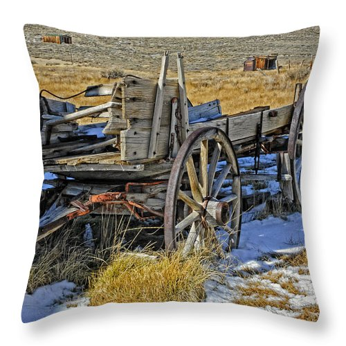 Wagon Throw Pillow featuring the photograph Old Wagon At Bodie Ghost Town by Dave Mills