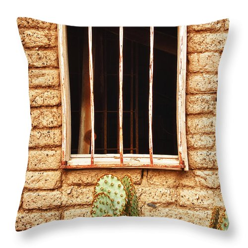 'old Jailhouse' Throw Pillow featuring the photograph Old Western Jailhouse Window by James BO Insogna