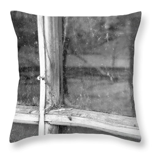 Black&white Throw Pillow featuring the photograph Old Window Reflection by Sandra Bronstein