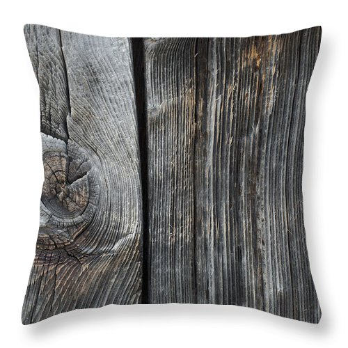 Boards Throw Pillow featuring the photograph Old Wood On A Barn Iron Hill, Quebec by David Chapman