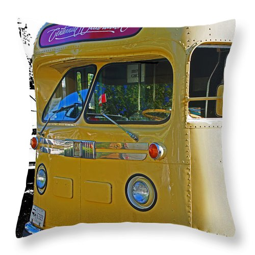 Bus Throw Pillow featuring the photograph Old Yellow Transit Bus Abstract by Randy Harris