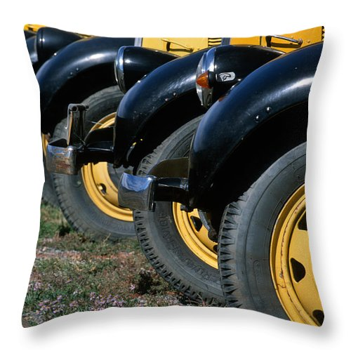 Bronstein Throw Pillow featuring the photograph Old Yellowstone Coaches by Sandra Bronstein