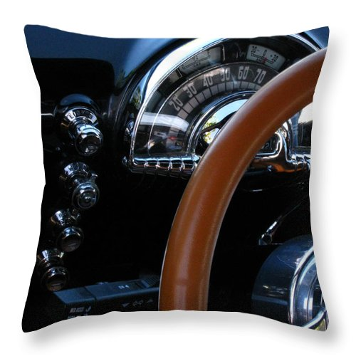 Oldsmobile 88 Throw Pillow featuring the photograph Oldsmobile 88 Dashboard by Peter Piatt