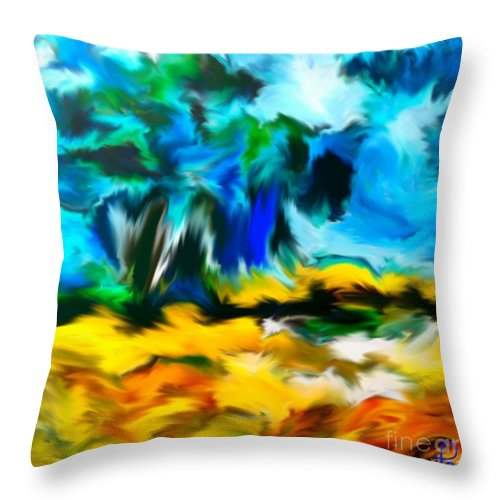 Fortuna's Digital Art Throw Pillow featuring the digital art Olive Trees In The Manner Of Van Gogh by Dragica Micki Fortuna
