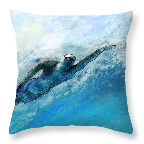 Sports Throw Pillow featuring the painting Olympics Swimming 03 by Miki De Goodaboom