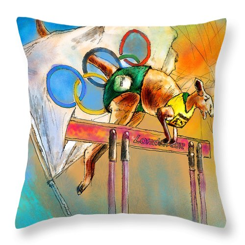 Fun Throw Pillow featuring the painting Olyver by Miki De Goodaboom