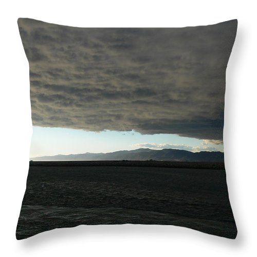 Cloud Throw Pillow featuring the photograph Ominous Black Storm Cloud by Jeff Lowe
