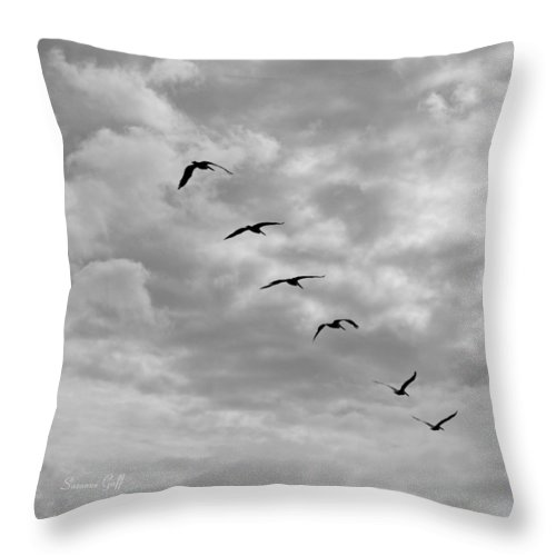 Square Throw Pillow featuring the photograph On A Mission In Black And White Squared by Suzanne Gaff