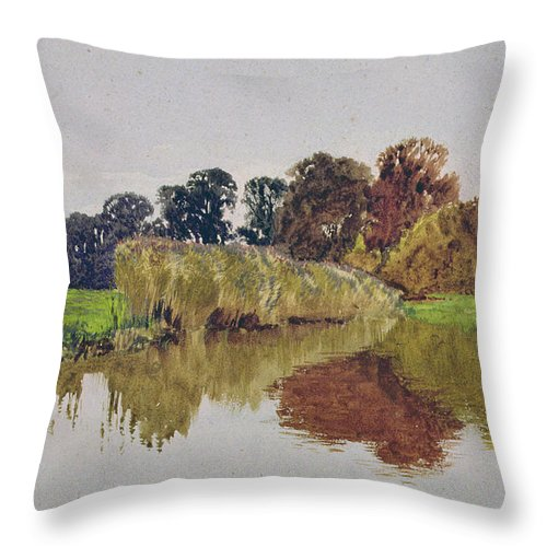 Meadow; River; Landscape Throw Pillow featuring the painting On The Arun Stoke Sussex by George Vicat Cole