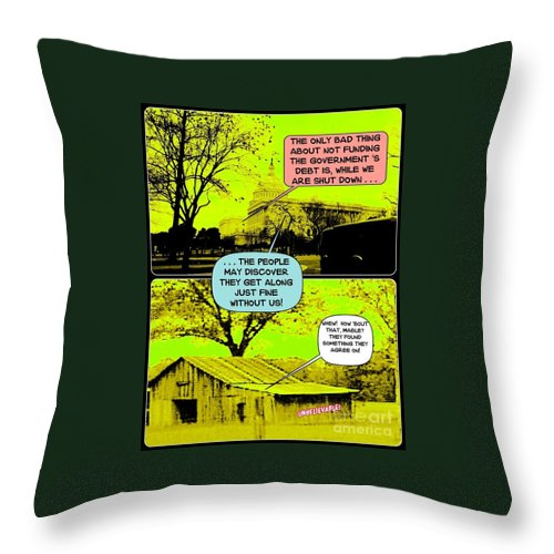 Cartoon Throw Pillow featuring the digital art On The Bright Side 2 Agreement by Karen Francis