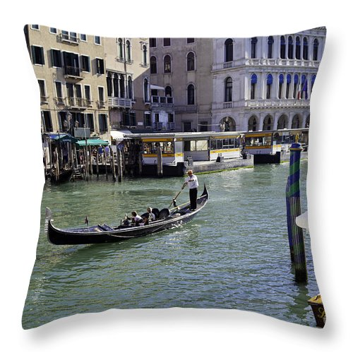 Canal Throw Pillow featuring the photograph On The Canal In Venice by Madeline Ellis