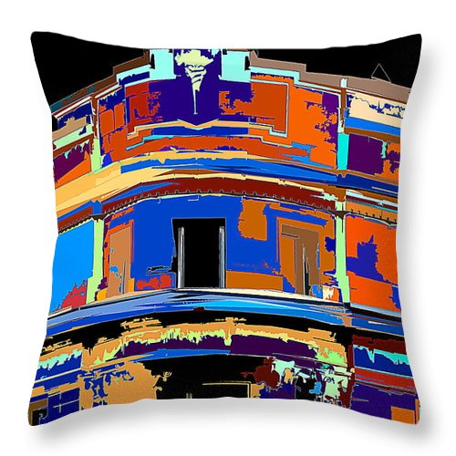 Building Throw Pillow featuring the photograph On The Corner by Burney Lieberman