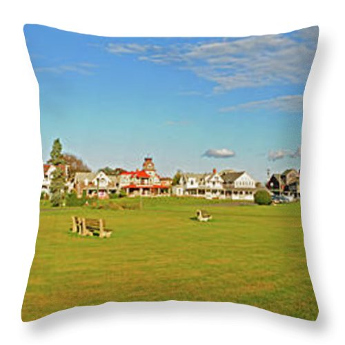 Gazebo Throw Pillow featuring the photograph On The Green At Marthas Vineyard by Dave Mills