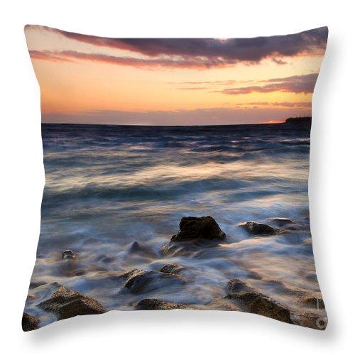 Lumahai Beach Throw Pillow featuring the photograph On The Horizon by Mike Dawson