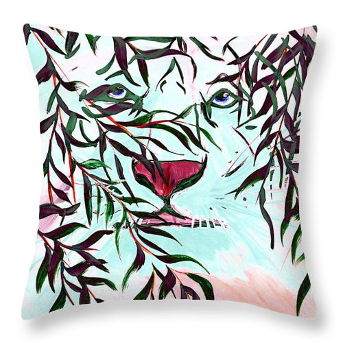 Tiger Throw Pillow featuring the painting On The Prowl 2 by Mark Moore