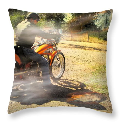 Bike Throw Pillow featuring the photograph On The Road Again by Joyce Dickens