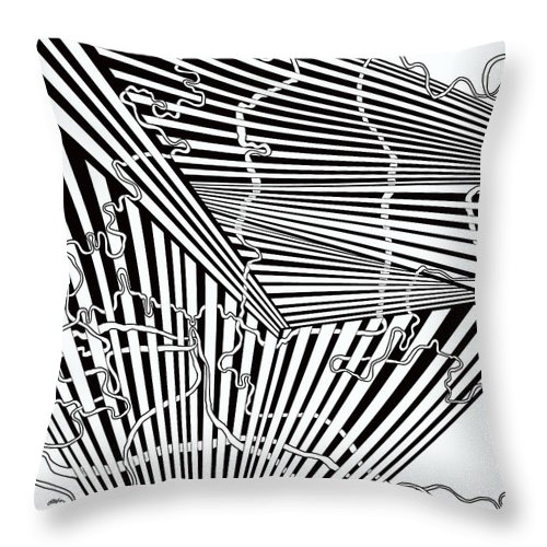 Optical Obsession Throw Pillow featuring the painting One 15 by Douglas Christian Larsen